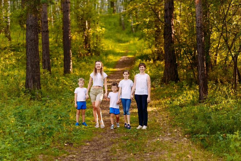 Two women and three children walk through the forest, holding hands. in full growth summer stock images