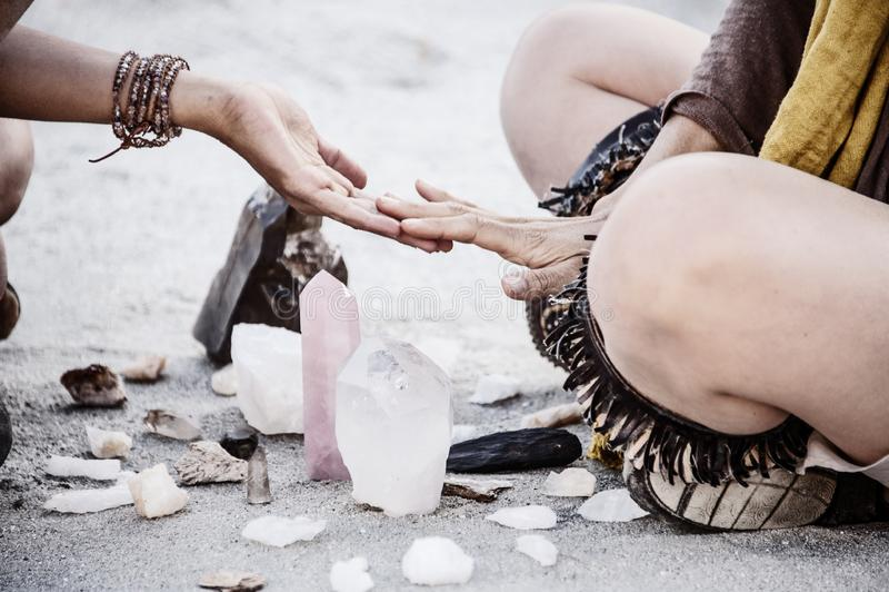 Rose Quartz Crystal Healing Meditation Women In Ceremony royalty free stock image
