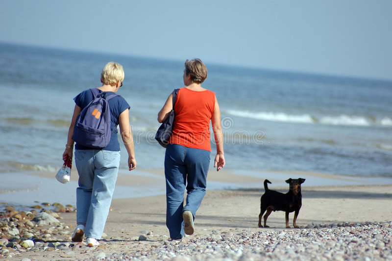 Two women walk with dog. On the beach stock photo