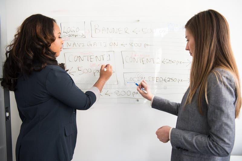 Two Women Writing on Dry Erase Board stock photo