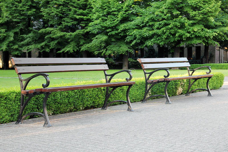 Two wooden bench in the green park stock photography