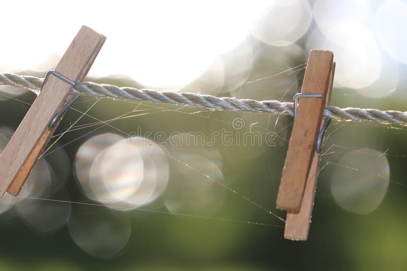 Two wooden clothespins clothes pegs on clothesline stock photo