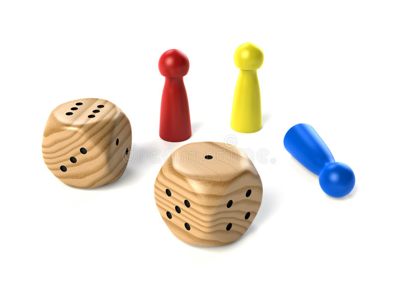 Two wooden dices with board game figures stock photo