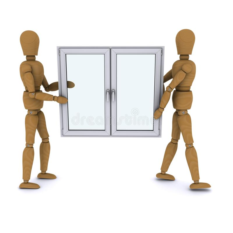 Download Two Wooden Doll Worker Carry A Plastic Window Stock Illustration - Image: 22866175