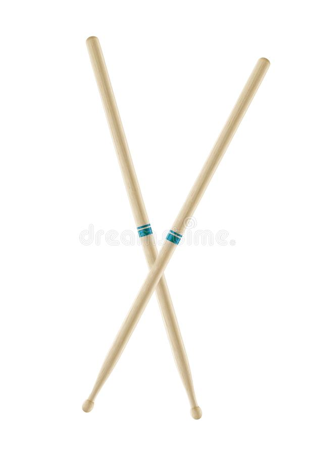 Two wooden drumsticks isolated royalty free stock photos