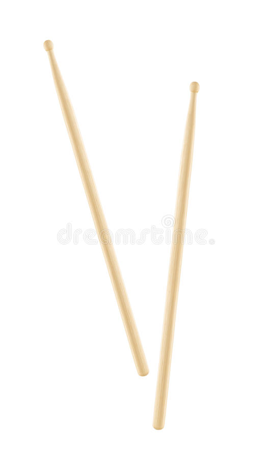 Two wooden drumsticks isolated royalty free stock photo