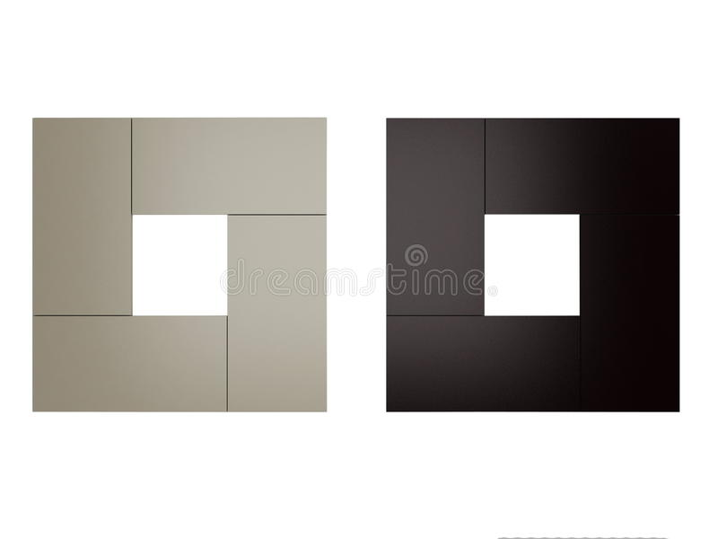Two wooden frames. Isolated on the white background stock illustration