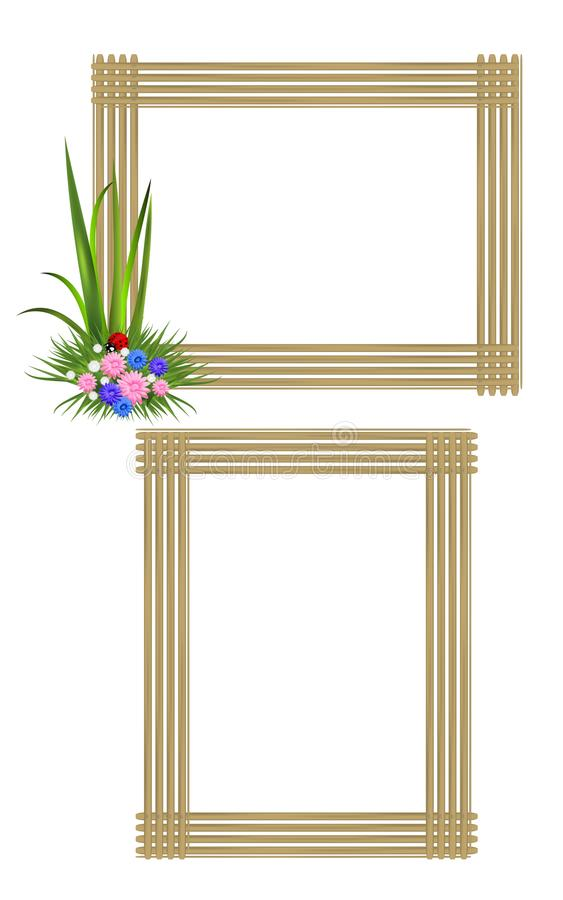 Two wooden frames, cdr vector. Set of two wooden frames, one with flowers and grass in one corner, vector format vector illustration