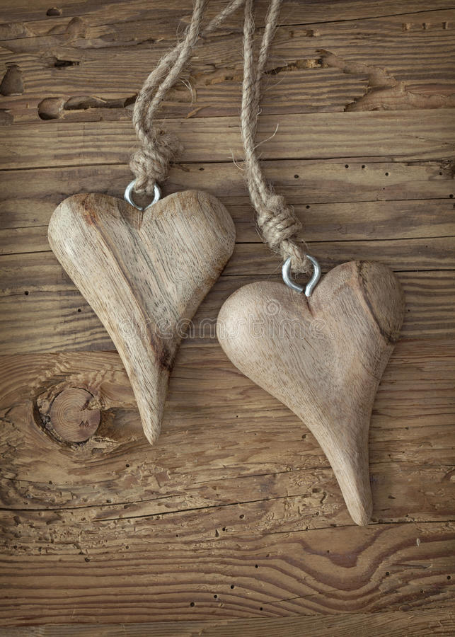Two Wooden Hearts Royalty Free Stock Photos