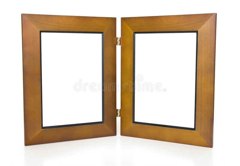 Two Wooden Hinged Picture Frames Stock Image