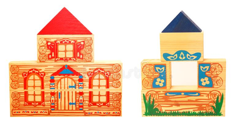 Two wooden houses stock images