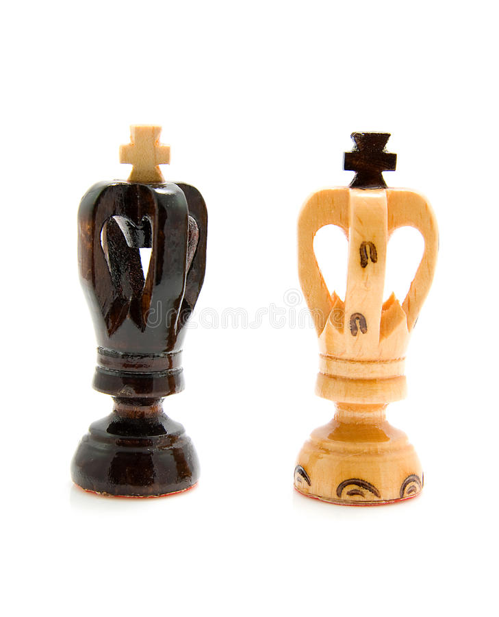 Two wooden king chess pawns royalty free stock photo