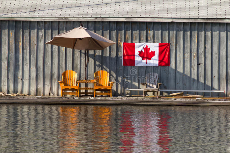 Two Wooden Muskoka Chairs Stock Photos