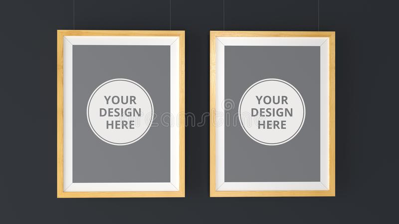 Two wooden Photo Frames Mockup. High resolution 3d render. Personal branding mockup template stock illustration