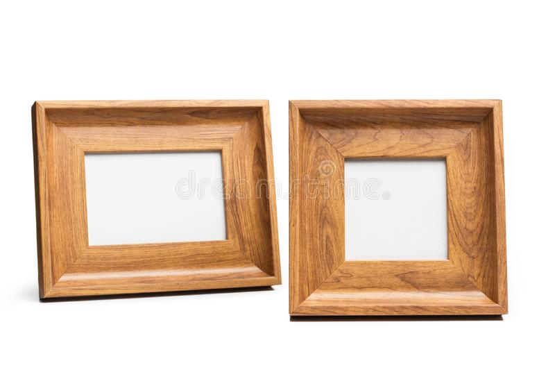 Two wooden photo frames stock image