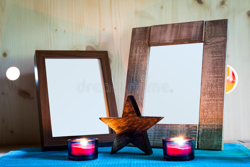 Two wooden picture frames stock photography