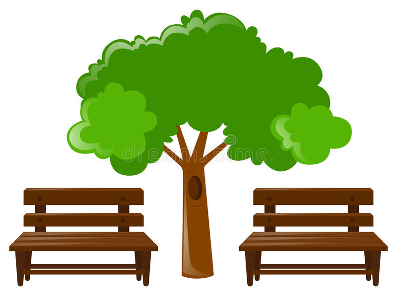 Two wooden seats and tree royalty free illustration