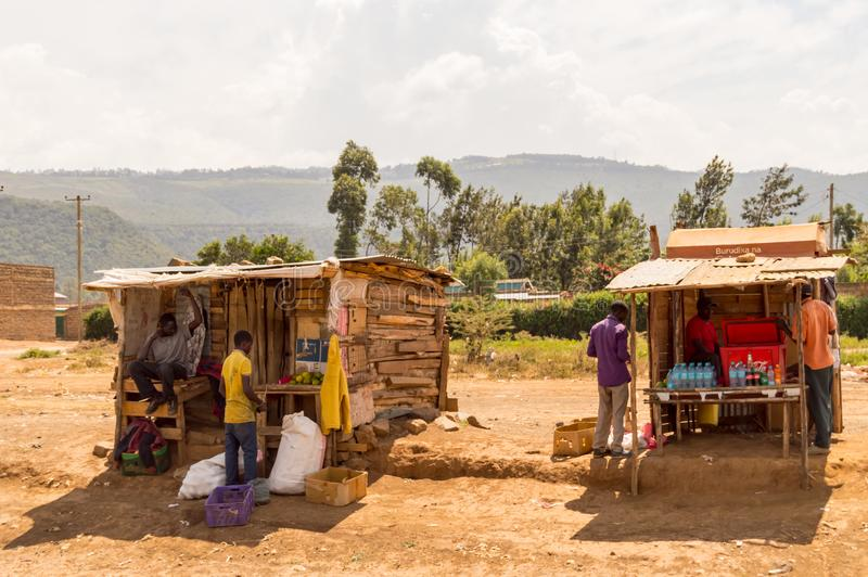 Two wooden stalls on the roadside in Kenya`s rift valley. Rift,Kenya,Afrique-03/01/2018.Two wooden stalls on the roadside in Kenya`s rift valley royalty free stock photography