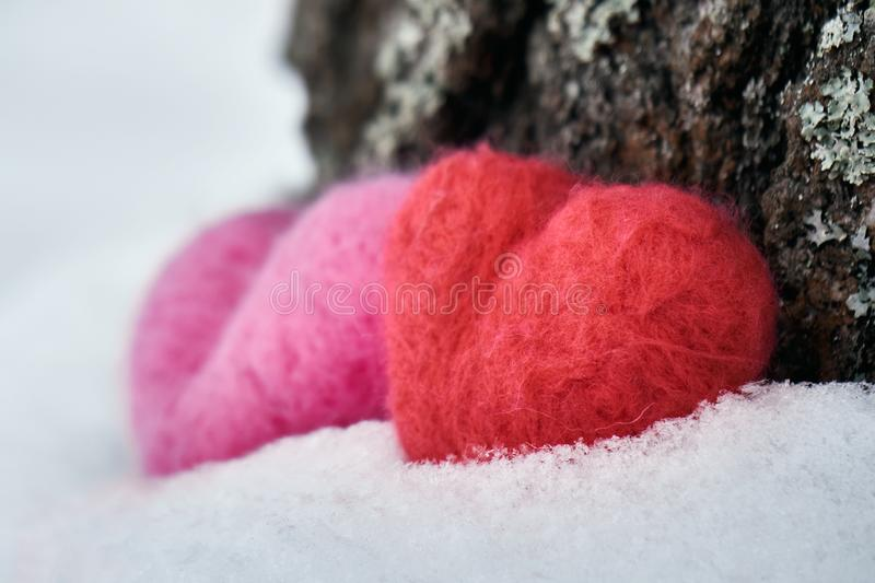 Two woolen red and pink hearts standing on the white snow near a tree trunk stock photo