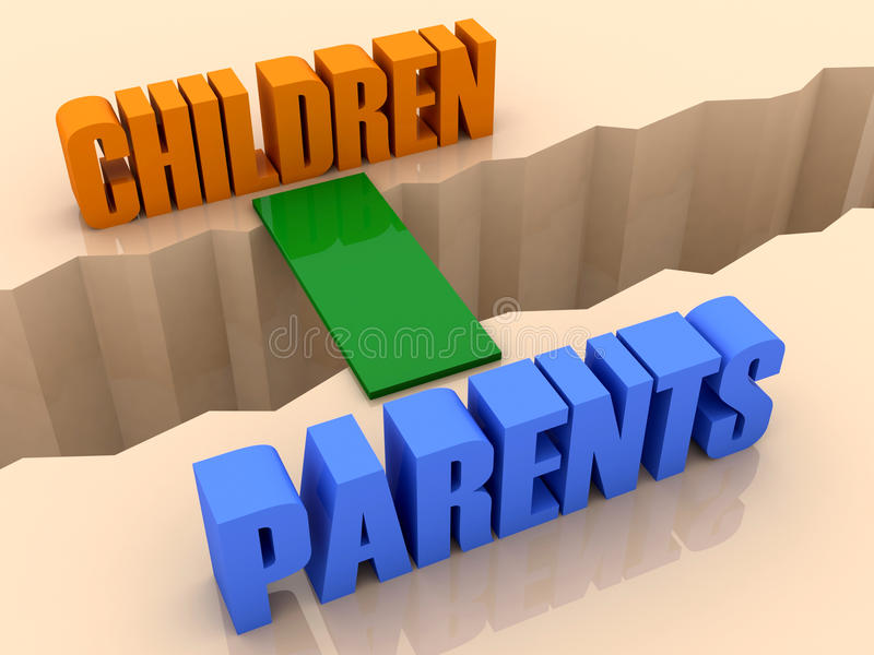 Two words Children and Parents united by bridge through separation crack. vector illustration