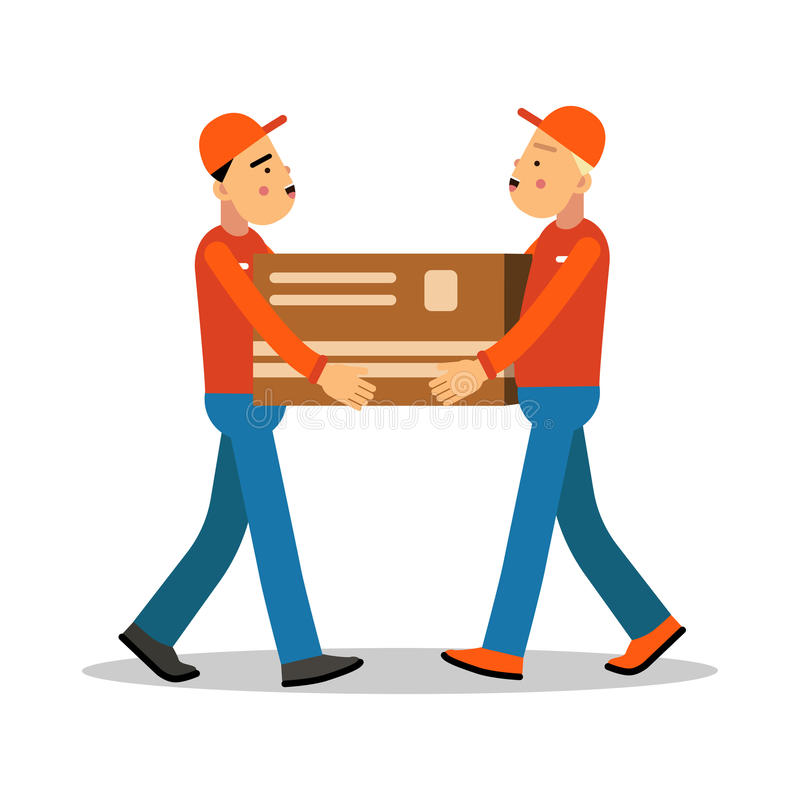 Two workers mover men holding and carrying heavy cardboard box, couriers in uniform at work cartoon characters vector royalty free illustration