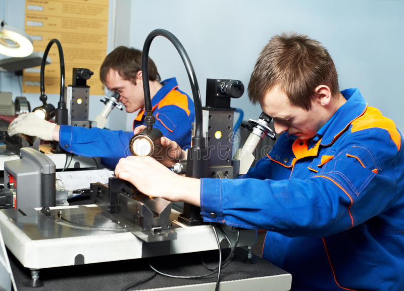 Download Two Workers At Tool Workshop Stock Image - Image: 19108321