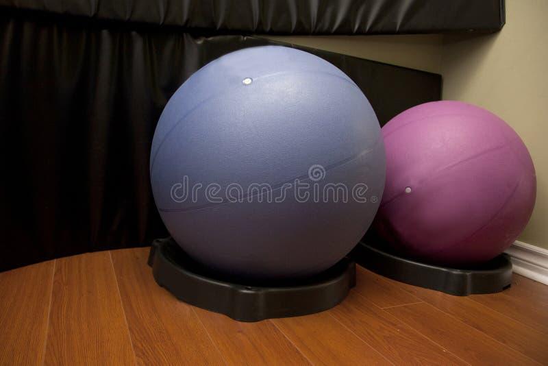 Two workout balance balls stock photo