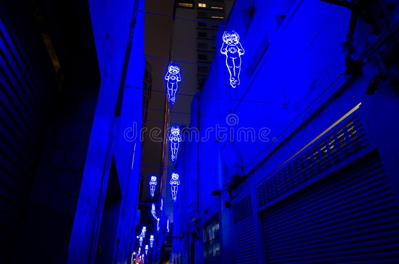 `In Between Two Worlds` is stunning light installation artwork, by City of Sydney council as part of a revitalisationใ royalty free stock images