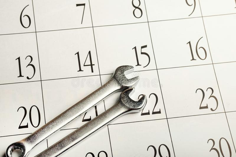 Two wrenches for unscrewing the nuts on the calendar. The repair is planned stock images