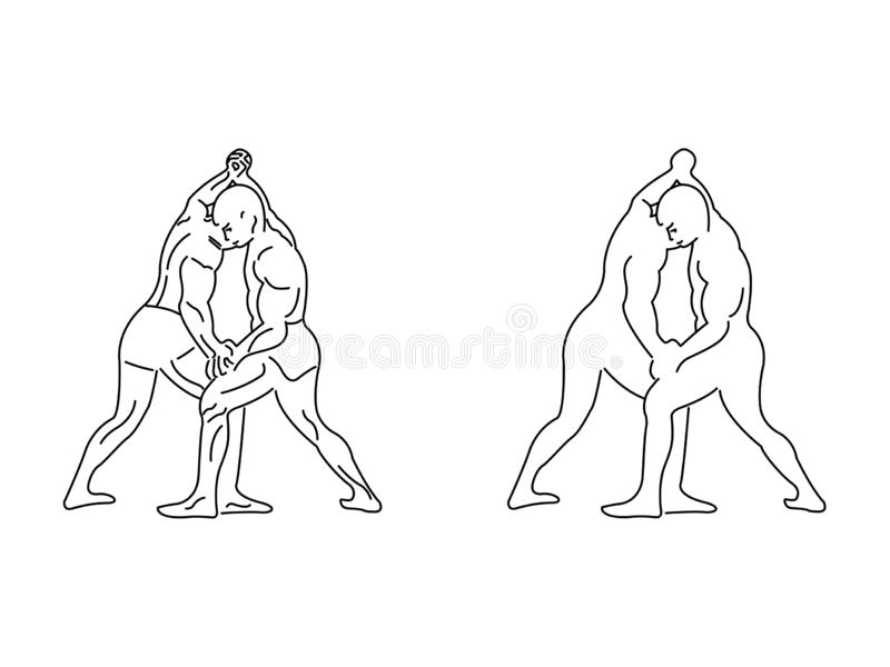 Two wrestlers competing royalty free illustration