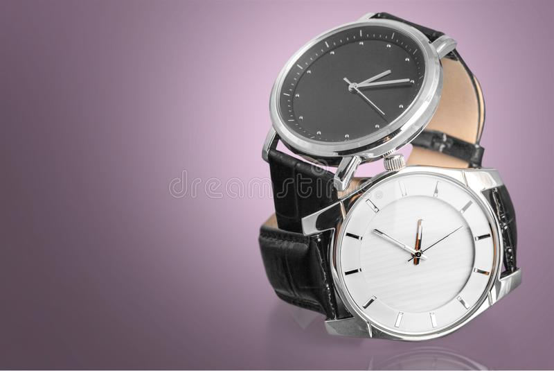Two wrist watches, close-up view royalty free stock image