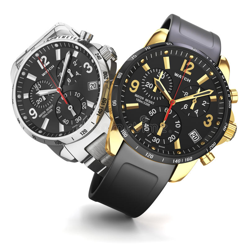 Two wrist watches. Group of two mens swiss mechanical golden and steel wrist watches, rubber and golden wristband, black dial, chronograph objects on background stock illustration