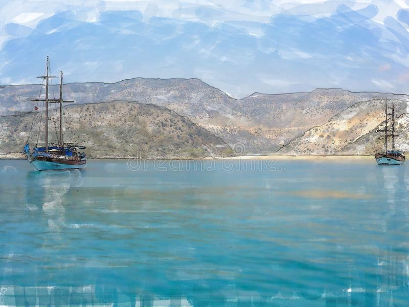 Two yachts against the blue sea and mountains. Photo, stylized as a watercolor royalty free stock image
