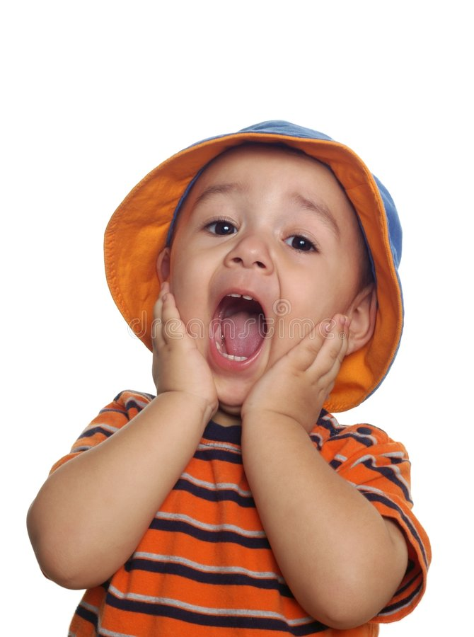 Two-year-old boy surprised stock photography