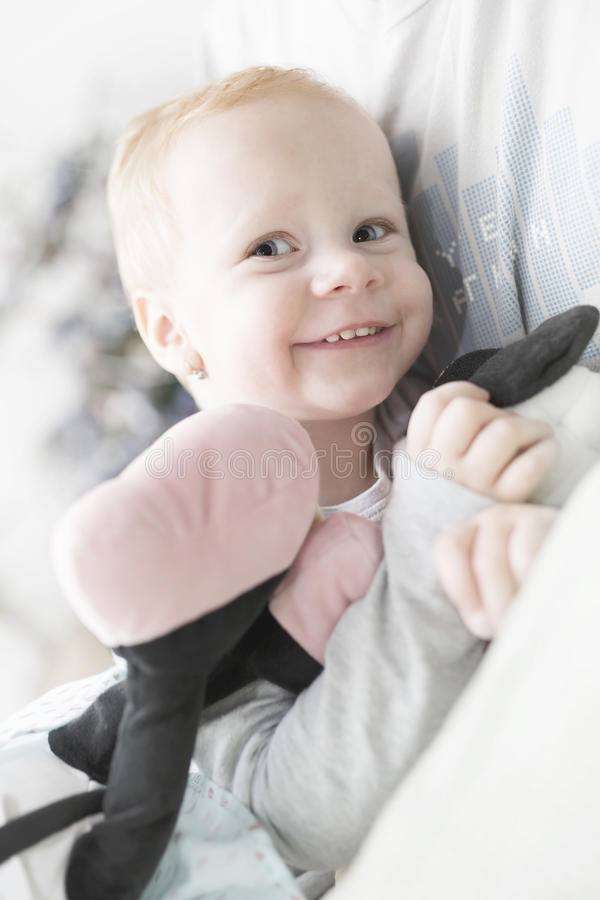 Two year old girl with blonde hair portrait stock images