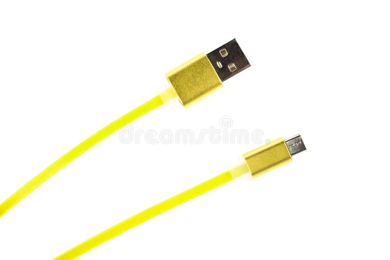 Two yellow connectors of micro USB cable on white isolated background. Horizontal frame royalty free stock images