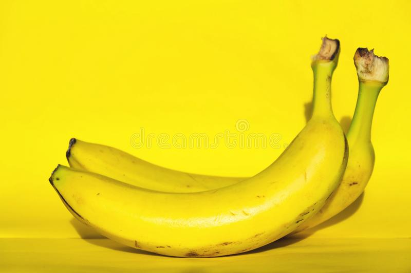 Two yellow fresh bananas fruit lying isolated on yellow background. Healthy diet royalty free stock photography