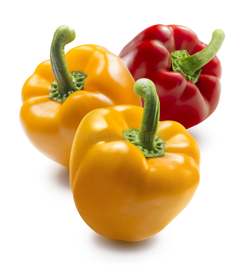 Two yellow and one red bell pepper on white background. For package design stock photography