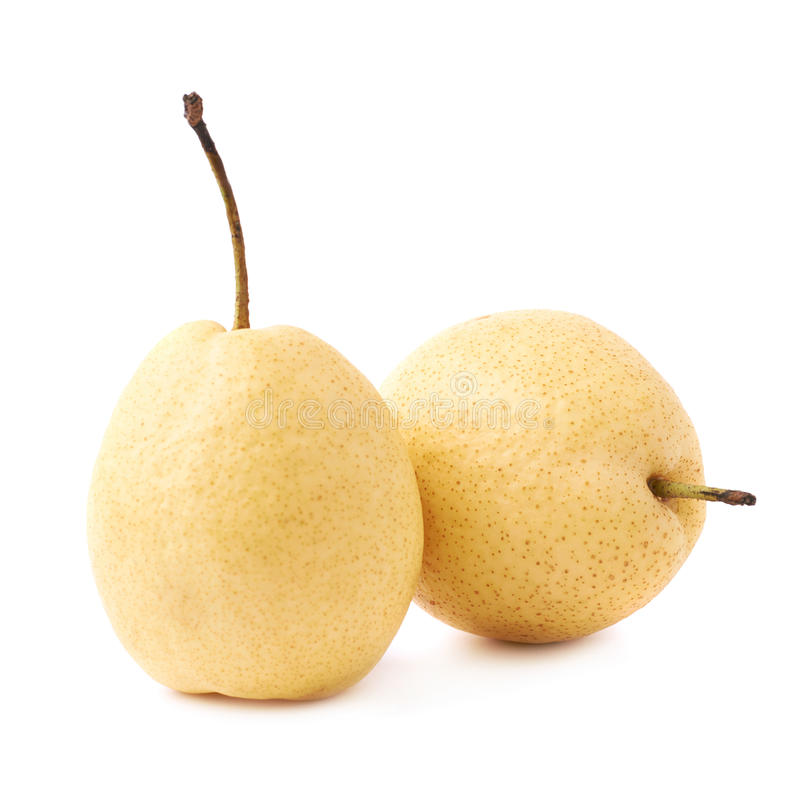 Two yellow pears isolated. Over the white background stock image