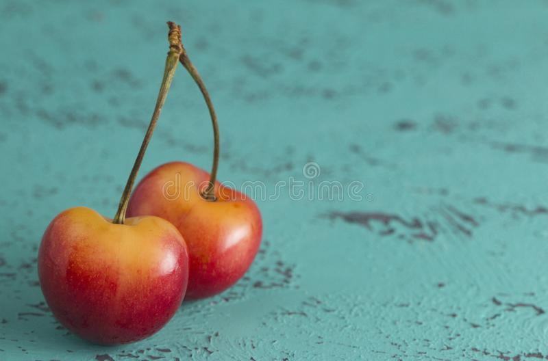 Two Yellow and Red Cherries Connected by the Stems royalty free stock photos