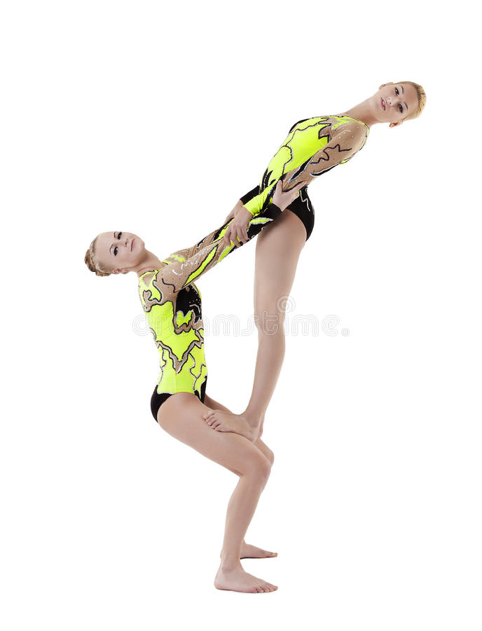 Download Two Young Acrobats Dance In Free Program Stock Photo - Image of active, performance: 23013380