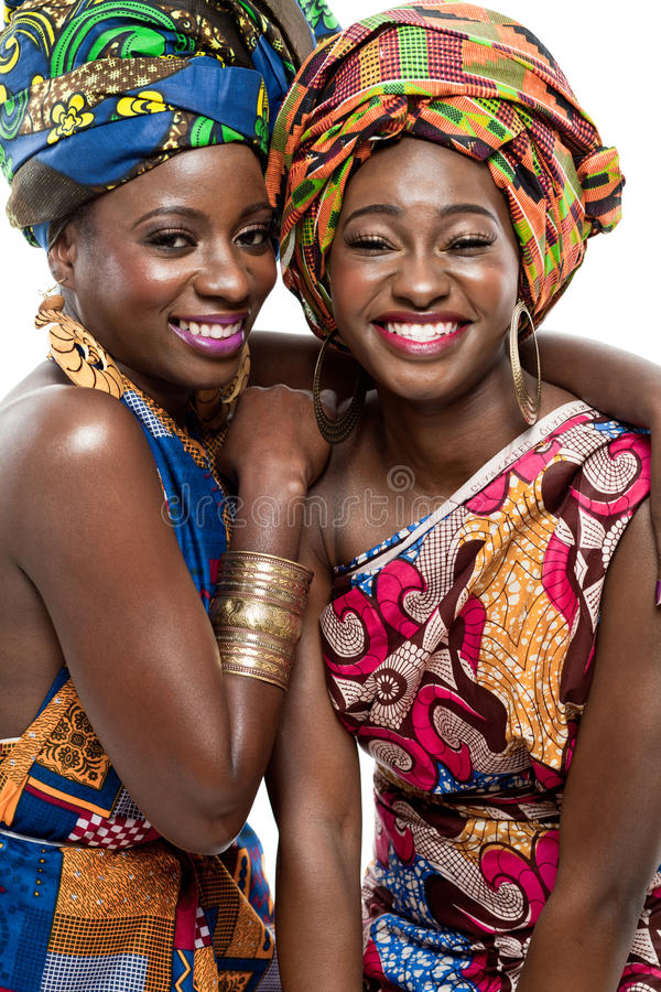 Two young African fashion models. stock photography