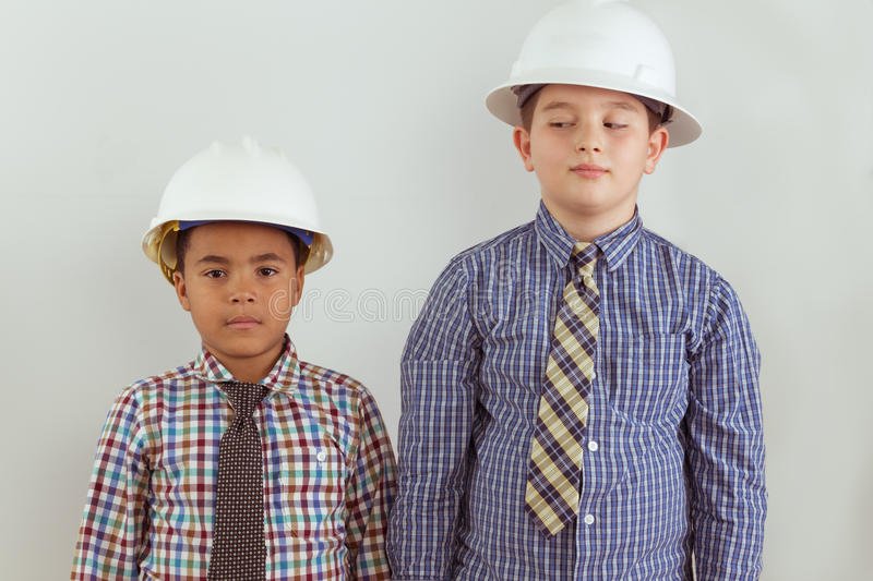 Two young aspiring tween engineers royalty free stock images