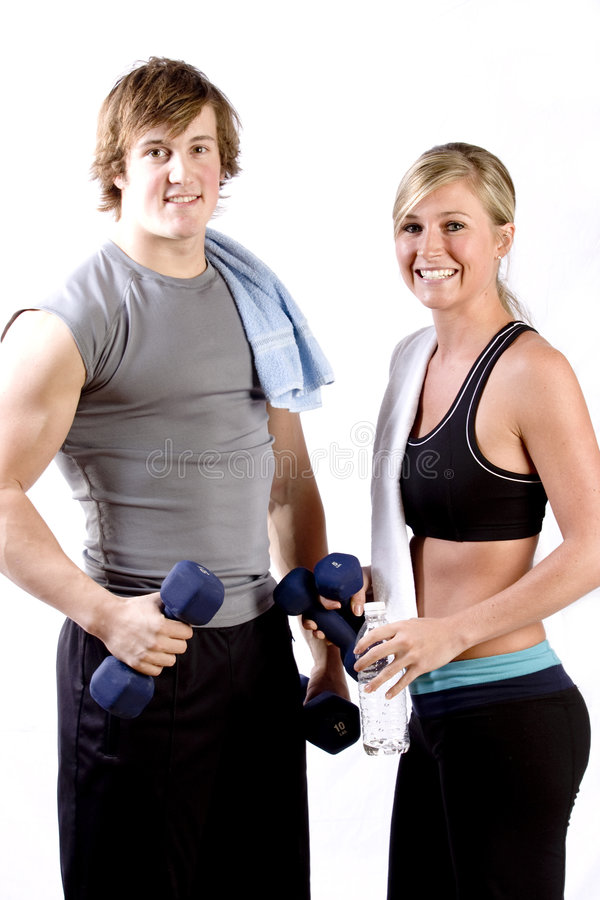 Two young athletic people royalty free stock image