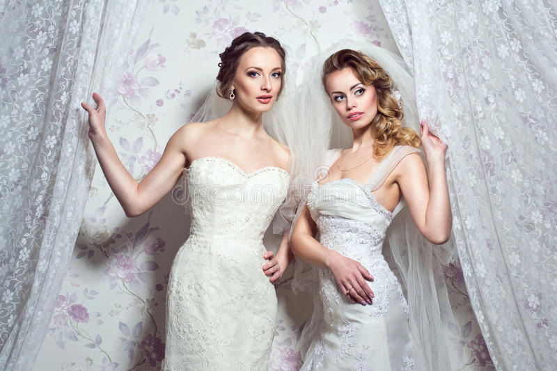 Two young beautiful European brides. stock photos