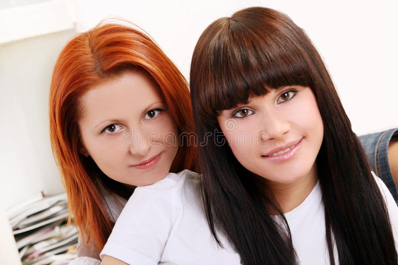 Download Two Young And Beautiful Sisters Stock Image - Image of happy, home: 12796249