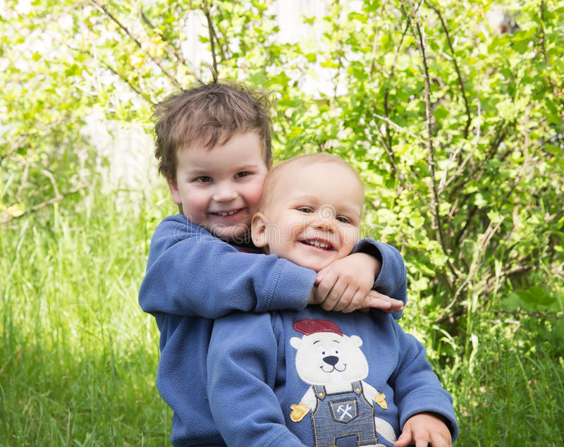 Two young brothers royalty free stock photography
