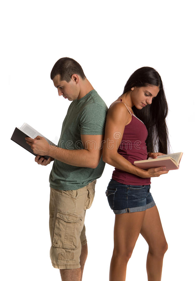 Two Young Casual Dressed College Student Isolated Stock Image