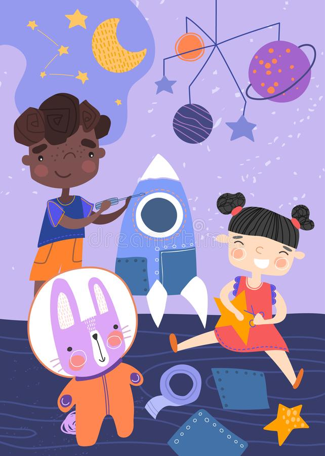 Two young children playing with a spaceship, stars and planets and rabbit in astronaut suit in their nursery in a royalty free illustration