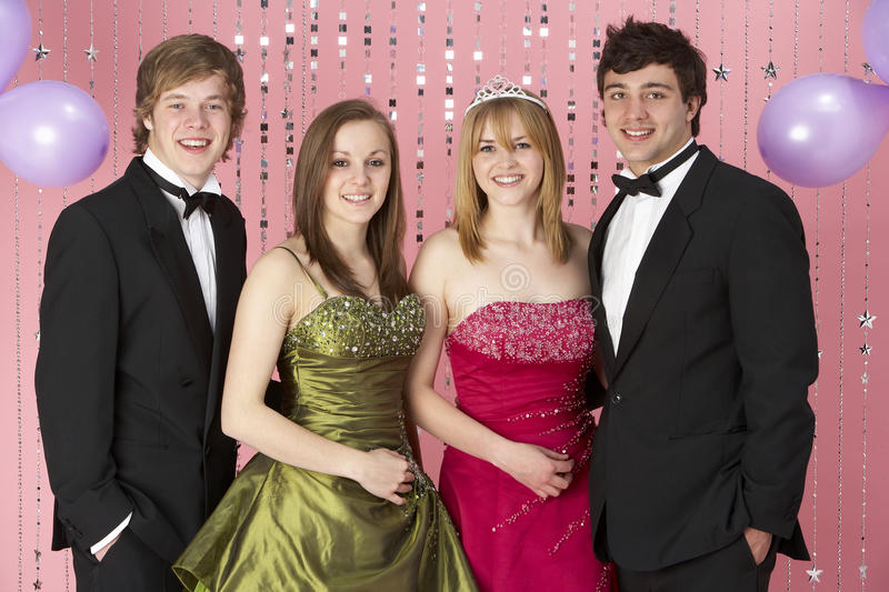 Two Young Couples Dressed For Party Royalty Free Stock Photography